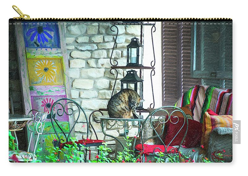 Cat Carry-all Pouch featuring the photograph Casual cat by Roy Nierdieck