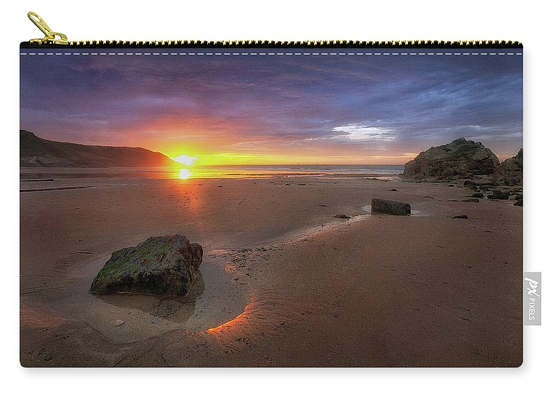 Caswell Bay Carry-all Pouch featuring the photograph Caswell Bay Sunrise by Leighton Collins