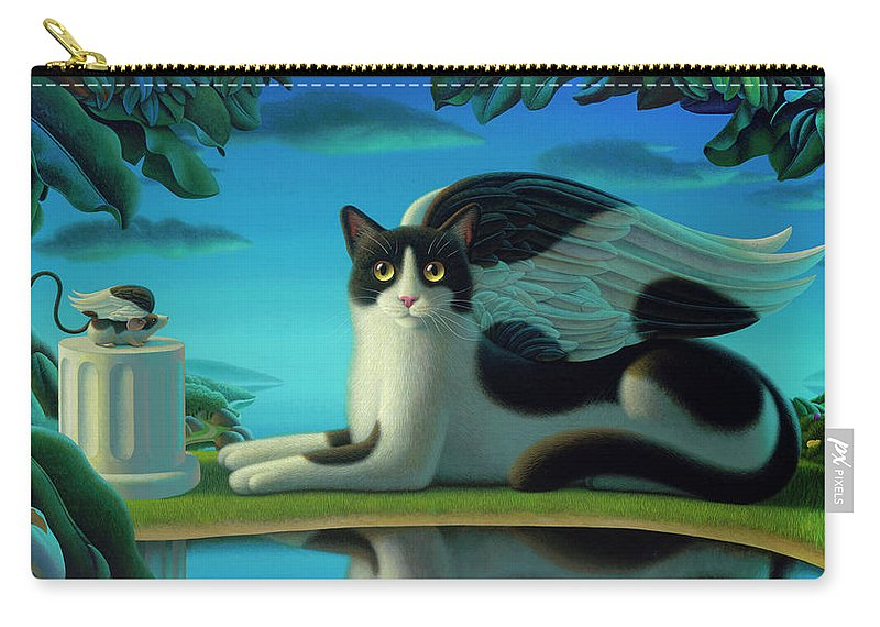 Cat Carry-all Pouch featuring the painting Cat And Mouse 2 by Chris Miles