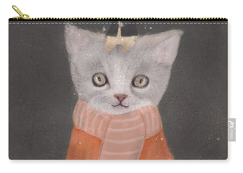 Cat Carry-all Pouch featuring the painting Cat And Mouse by Bri Buckley