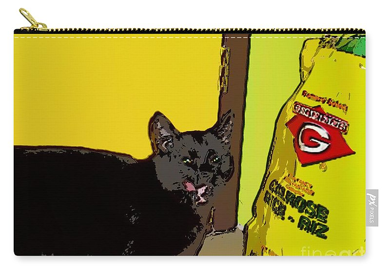 Photograph Cat Black Rice Yellow Critter Green Red Carry-all Pouch featuring the photograph Cat And Rice by Seon-Jeong Kim