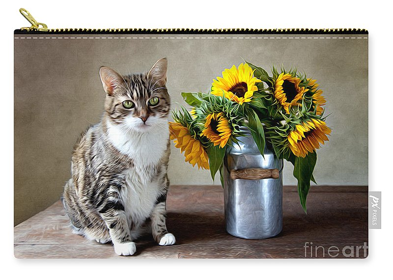 Cat Carry-all Pouch featuring the painting Cat and Sunflowers by Nailia Schwarz