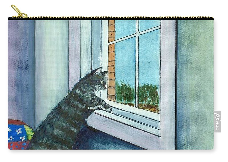 Cat Carry-all Pouch featuring the painting Cat By The Window by Anastasiya Malakhova