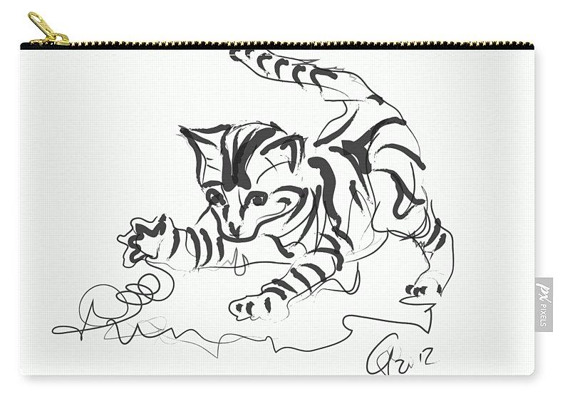 Kitten Carry-all Pouch featuring the digital art Cat- Cute Kitty by Go Van Kampen