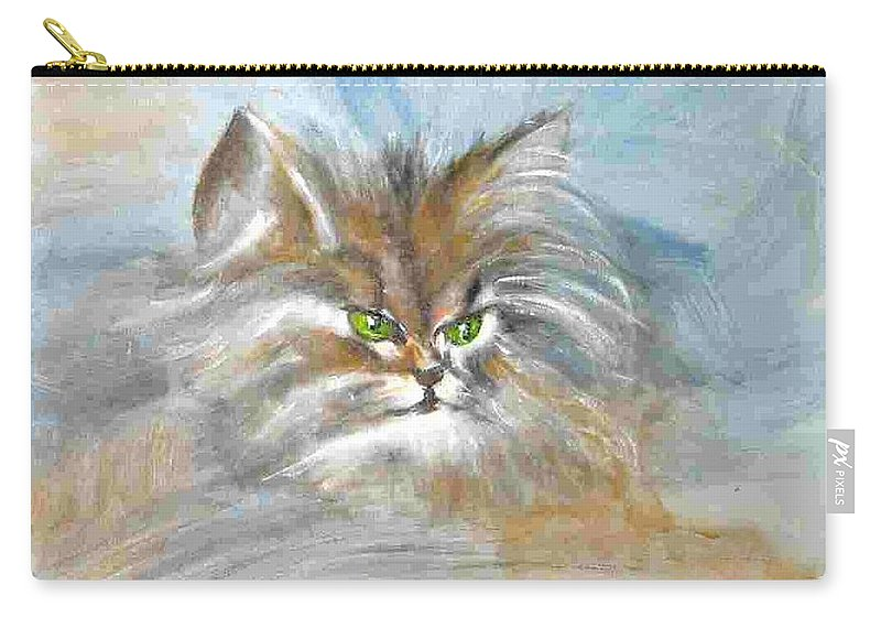 Cat Carry-all Pouch featuring the painting cat by Dragica Micki Fortuna