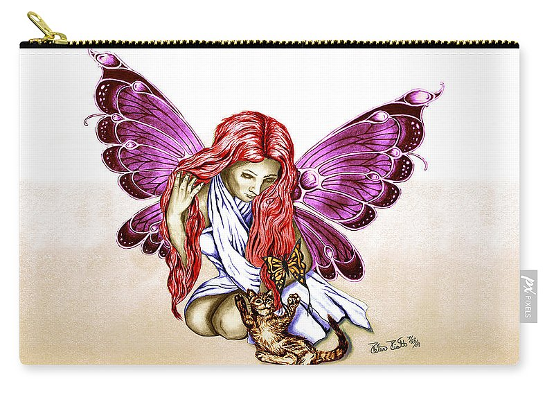 Cat Fairy Carry-all Pouch featuring the drawing Cat Fairy In Purple by Peter Piatt