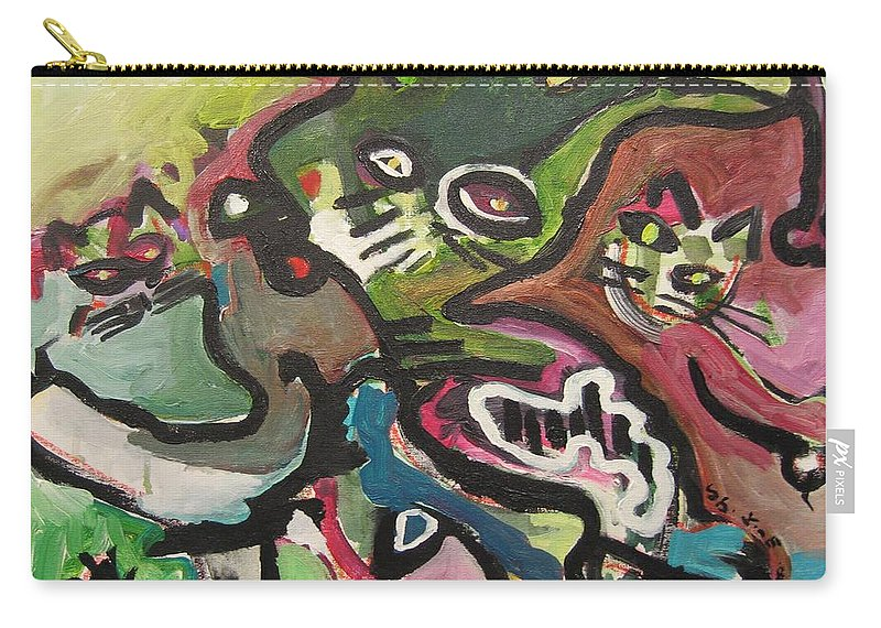 Cat Painting Carry-all Pouch featuring the painting Cat Fight by Seon-Jeong Kim