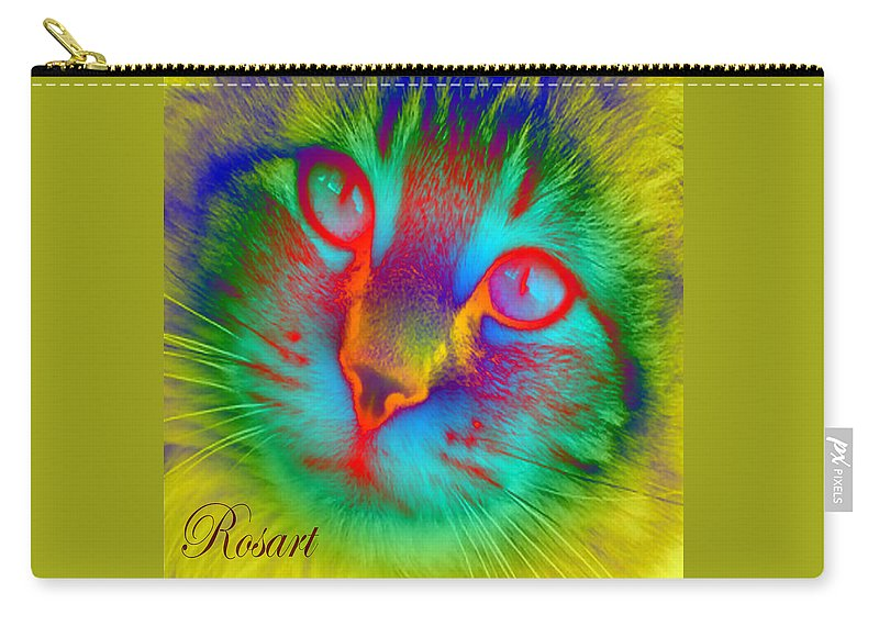 Fluorescent Carry-all Pouch featuring the digital art Cat Fluorescent by Rosa Maria Intorre