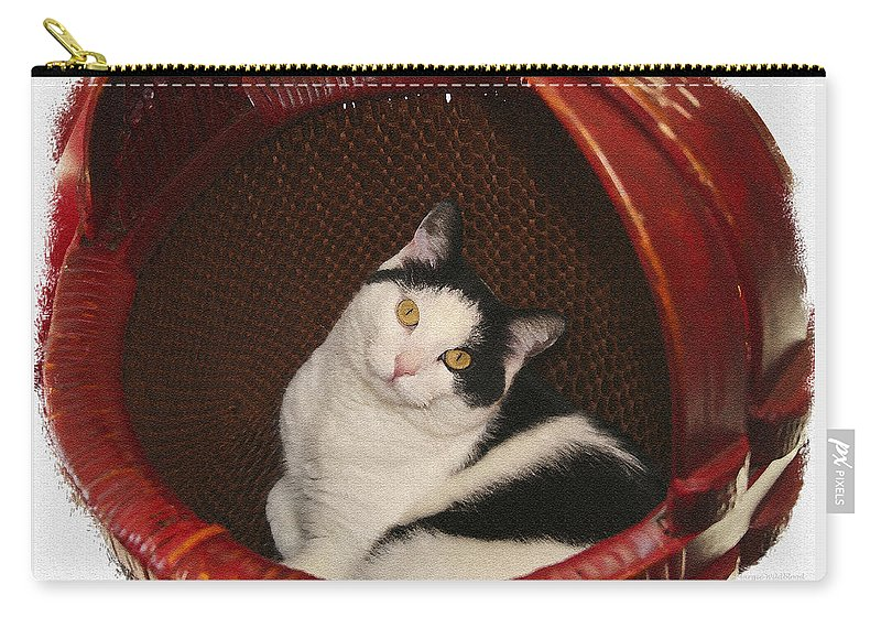 Cat Carry-all Pouch featuring the photograph Cat In A Basket by Margie Wildblood
