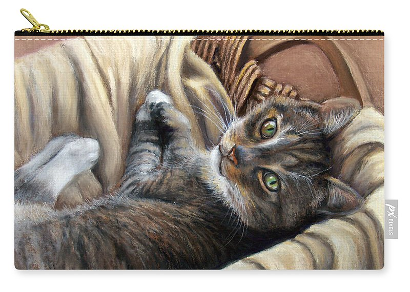 Animal Carry-all Pouch featuring the pastel Cat In A Basket by Susan Jenkins