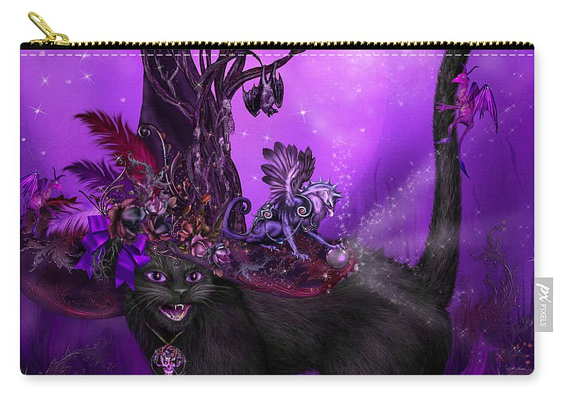Cat Art Carry-all Pouch featuring the mixed media Cat In Goth Witch Hat by Carol Cavalaris