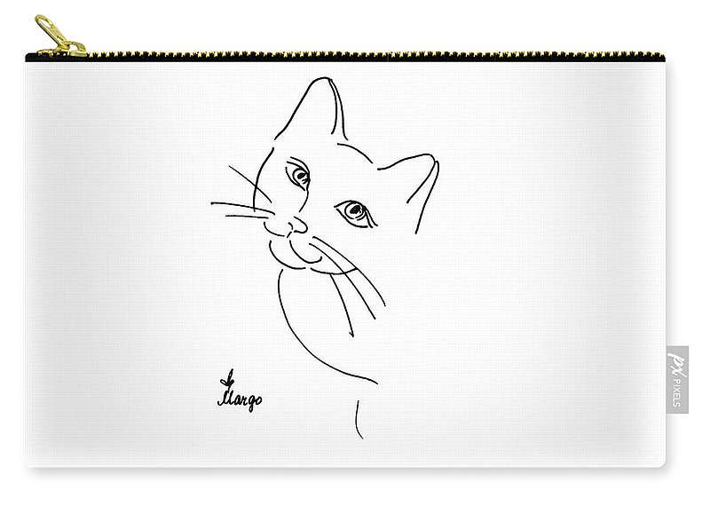 Cat Carry-all Pouch featuring the drawing Cat by Margarita Basalyga
