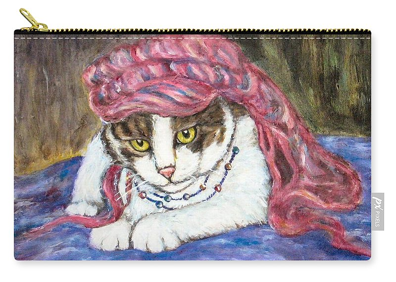 Cat Painting Carry-all Pouch featuring the painting Tabby Cat With Yellow Eyes by Frances Gillotti