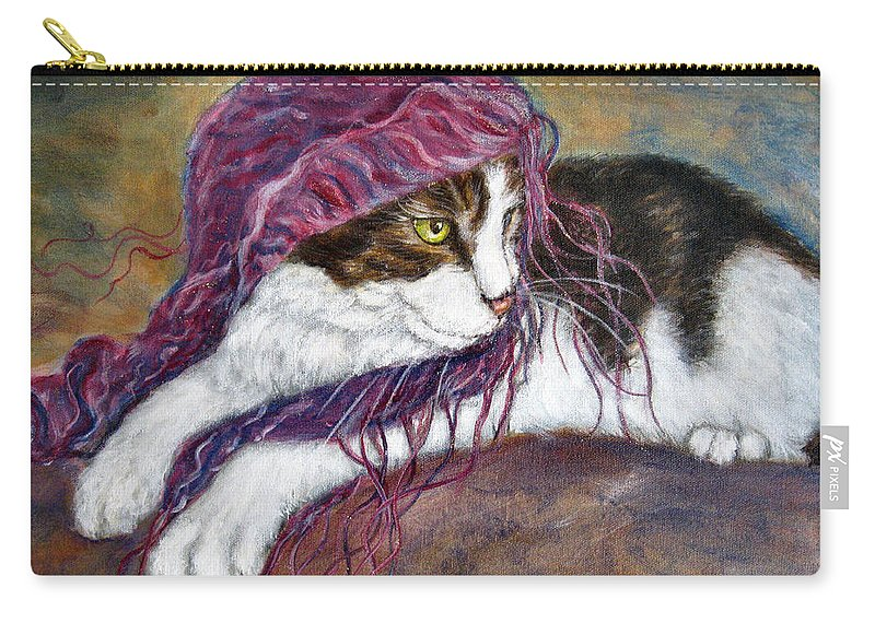 Tortoise Cat Carry-all Pouch featuring the painting Cat Painting Charlie The Pirate by Frances Gillotti