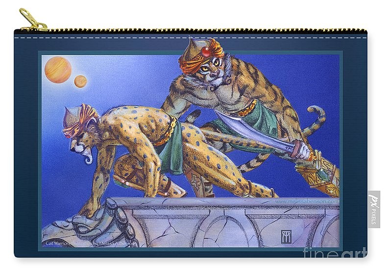 Furry Carry-all Pouch featuring the digital art Cat Warriors by Melissa A Benson