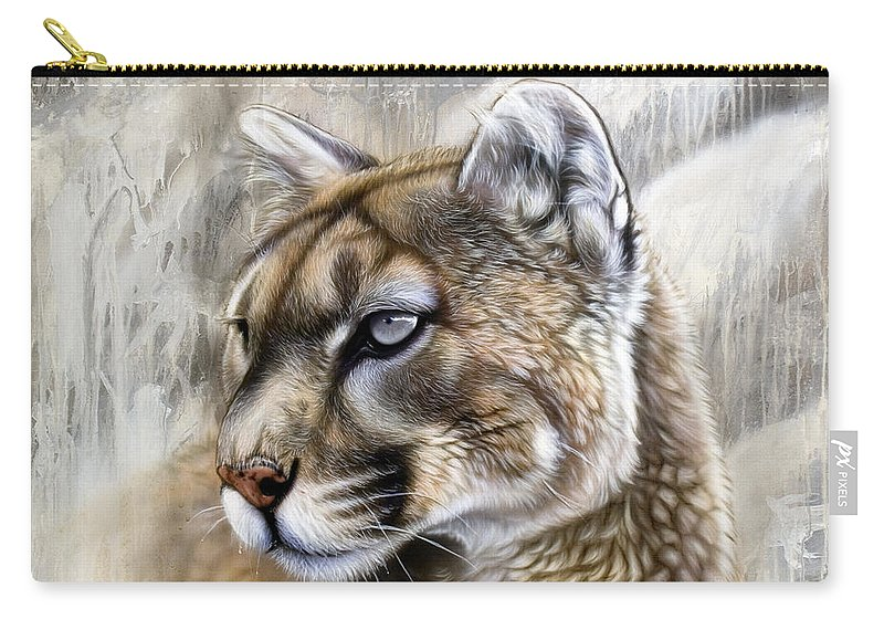 Acrylic Carry-all Pouch featuring the painting Catamount by Sandi Baker