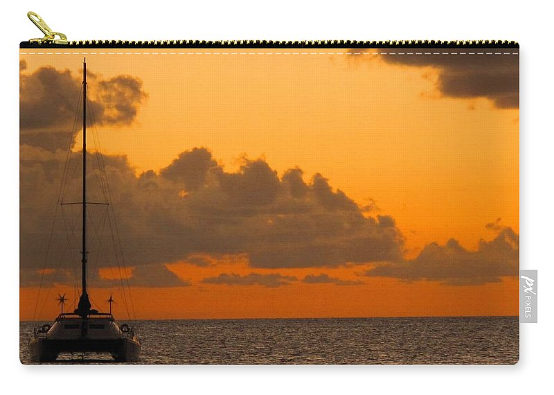 Catamaran Carry-all Pouch featuring the photograph Catarman At Sunset by Ian MacDonald