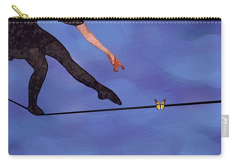 Surreal Carry-all Pouch featuring the painting Catching Butterflies by Steve Karol