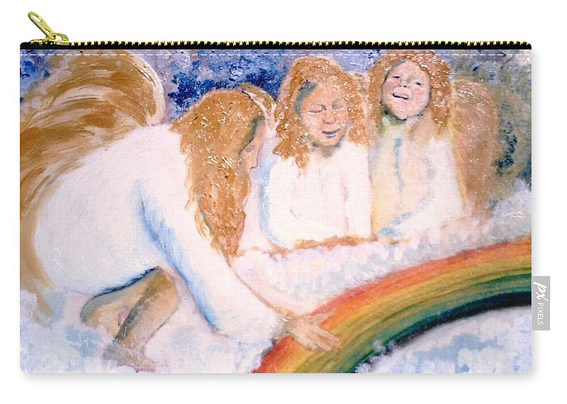 Rainbow Carry-all Pouch featuring the painting Catching Rainbows by J Bauer