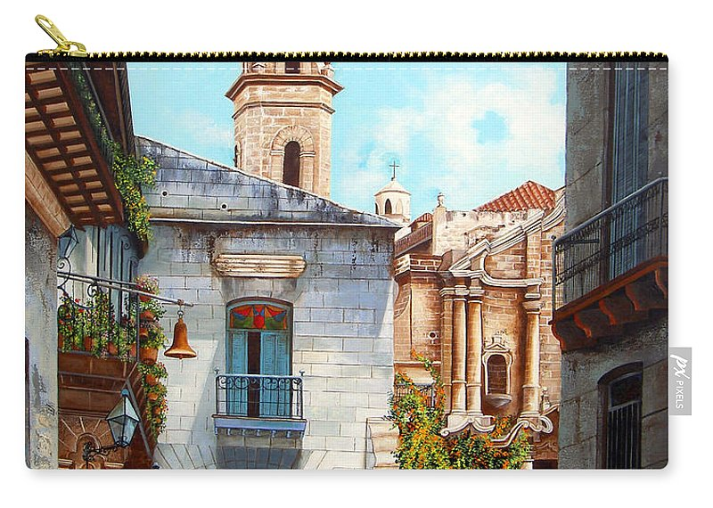 Catedral De La Habana Carry-all Pouch featuring the painting Catedral De La Habana by Dominica Alcantara