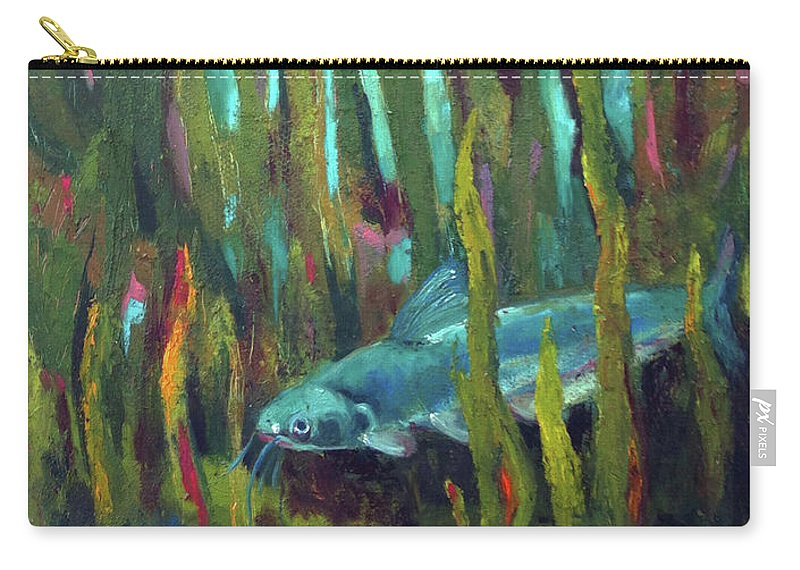 Catfish Carry-all Pouch featuring the painting Catfish by Art Nomad Sandra Hansen