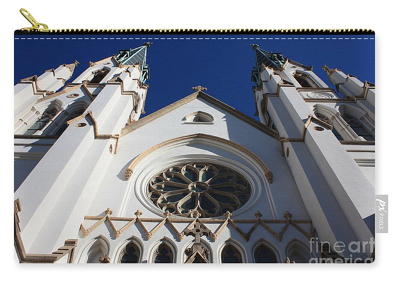 Cathedral Of St John The Babtist Carry-all Pouch featuring the photograph Cathedral Of St John The Babtist In Savannah by Carol Groenen