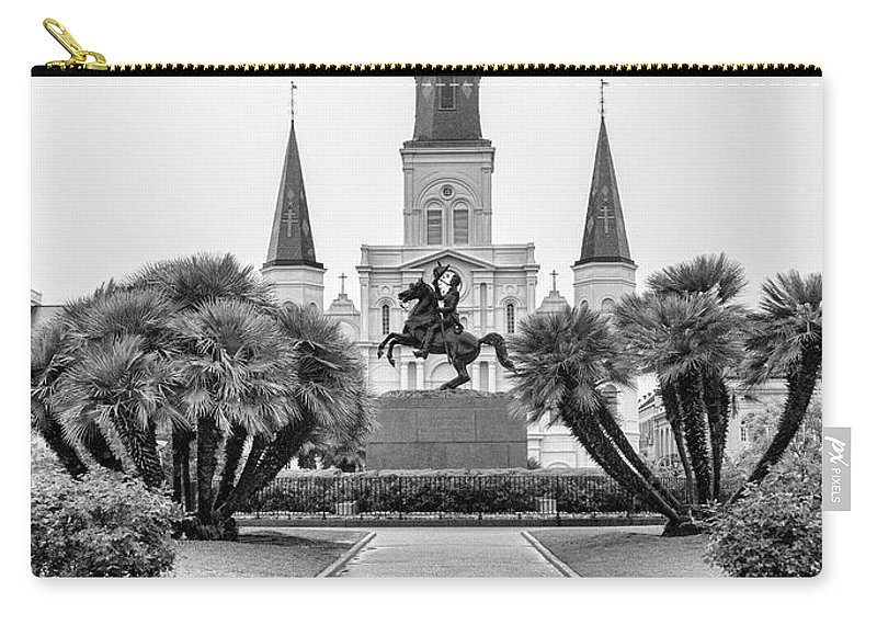 Andrew Jackson Carry-all Pouch featuring the photograph Catholic Basilica Jackson Sq Andrew Jackson New Orleans by Chuck Kuhn