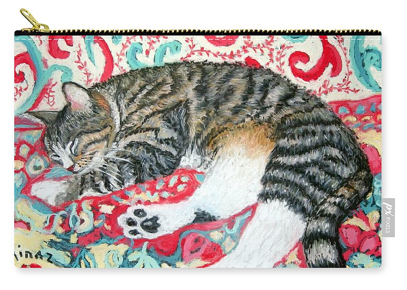 Cat Carry-all Pouch featuring the painting Catnap Time by Minaz Jantz