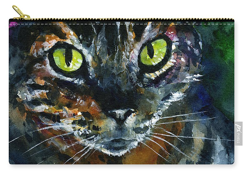 Eyes Carry-all Pouch featuring the painting Cats Eyes 16 by John D Benson
