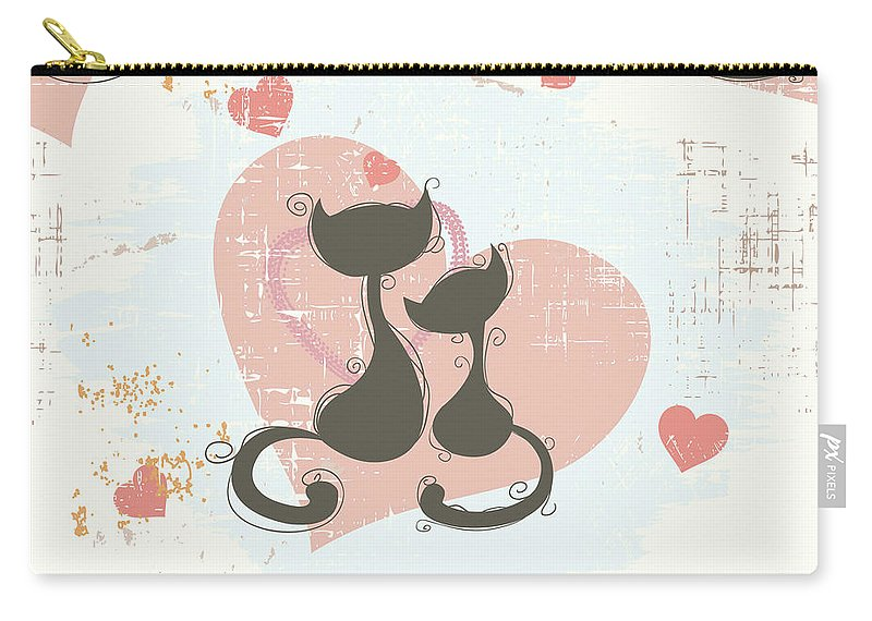 Cats Carry-all Pouch featuring the digital art Cats In Love, Romantic Decorative Seamless Pattern by Long Shot