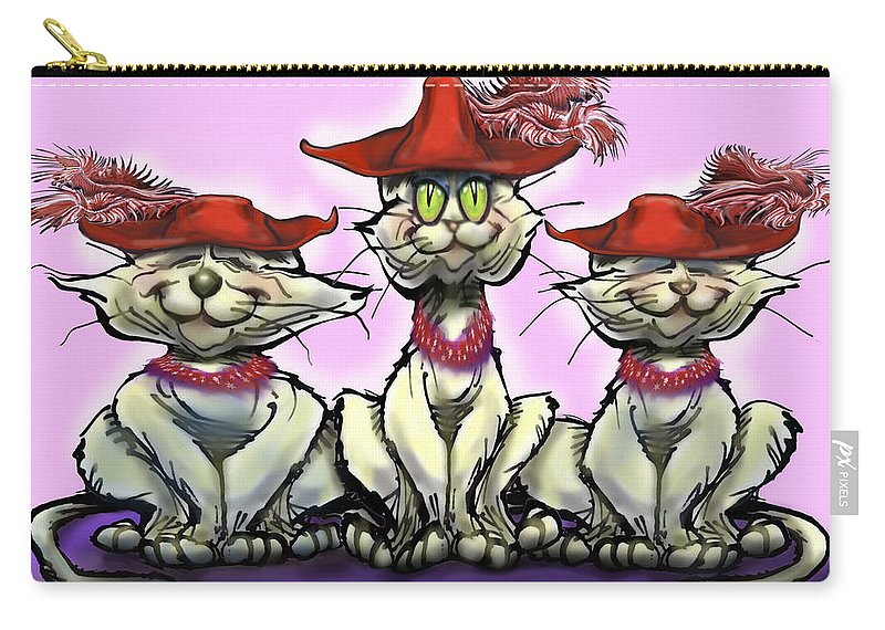 Red Hats Carry-all Pouch featuring the digital art Cats In Red Hats by Kevin Middleton