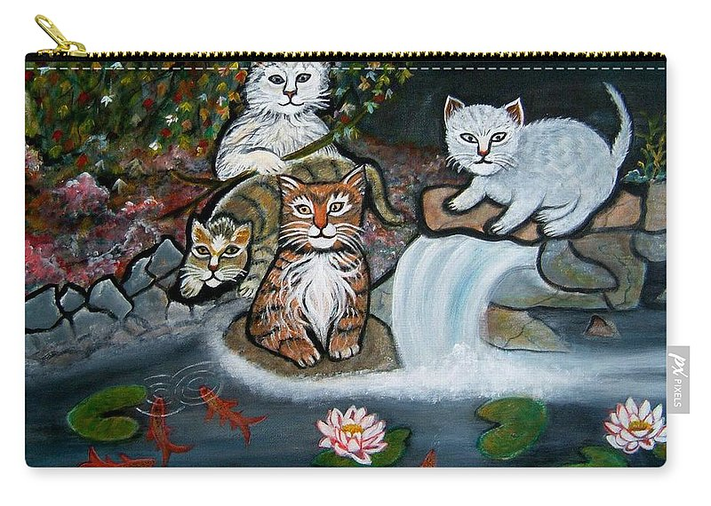 Acrylic Art Landscape Cats Animals Figurative Waterfall Fish Trees Carry-all Pouch featuring the painting Cats In The Wild by Manjiri Kanvinde