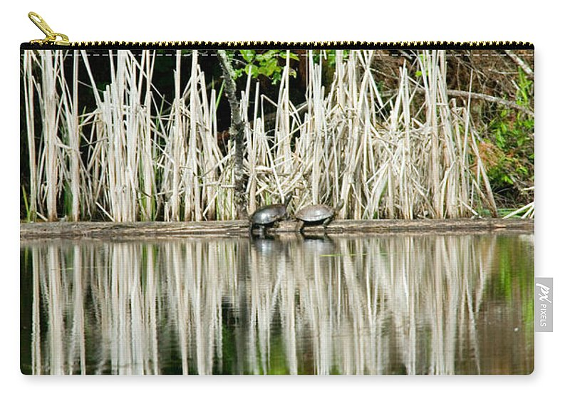 Naturescape Carry-all Pouch featuring the photograph Cattail Reflection by Randall Ingalls