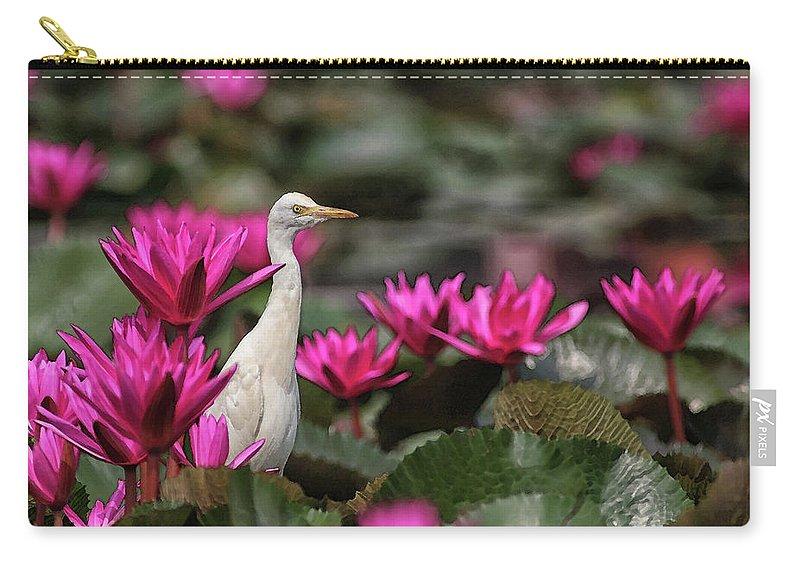 Bird Carry-all Pouch featuring the digital art Cattle Egret amongst Waterlilies by Sandeep Gangadharan