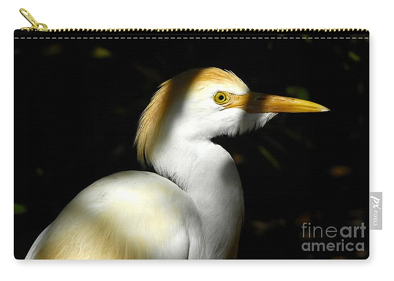 Cattle Egret Carry-all Pouch featuring the photograph Cattle Egret In Shadow by David Lee Thompson