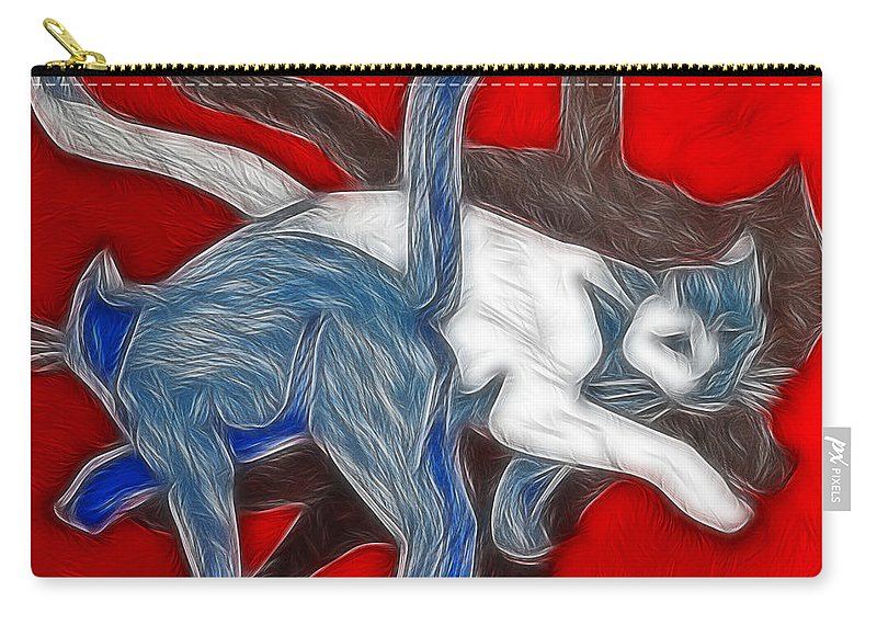 Cats Carry-all Pouch featuring the painting Catwalk by Joachim G Pinkawa