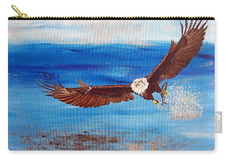 Eagle Carry-all Pouch featuring the painting Caught You by Richard Le Page
