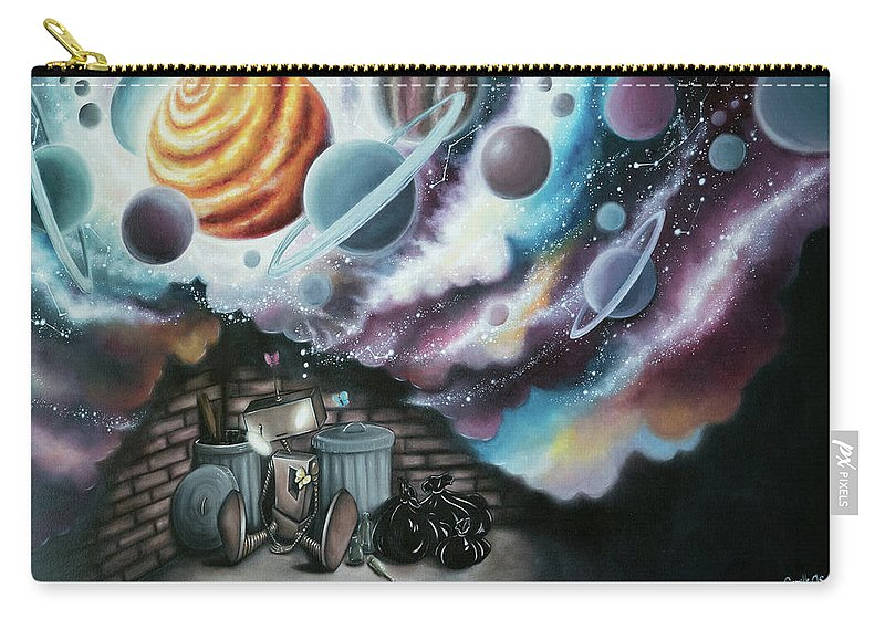 Robot Carry-all Pouch featuring the painting Caulis The Robot by Camille Singer