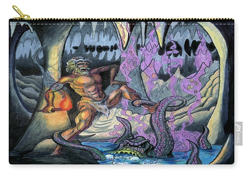 Cave Carry-all Pouch featuring the painting Cave Creature by Kevin Middleton