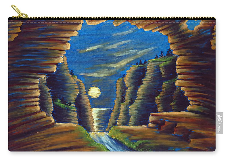 Cave Carry-all Pouch featuring the painting Cave with Cliffs by Jennifer McDuffie