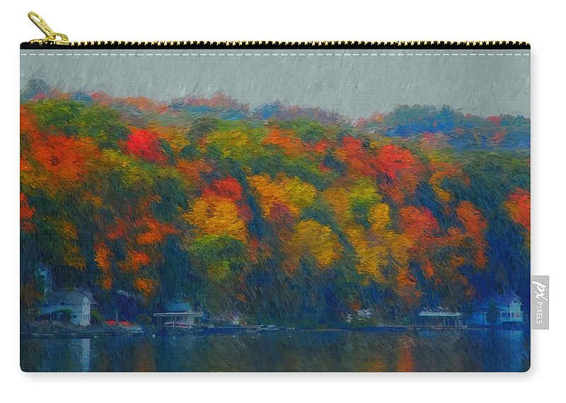 Digital Painting Carry-all Pouch featuring the photograph Cayuga Autumn by David Lane