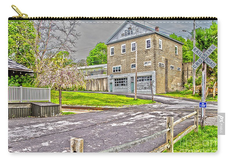 Cayuga Carry-all Pouch featuring the photograph Cayuga Rail Crossing by William Norton