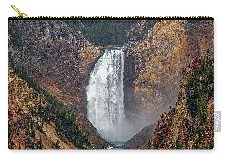 Falls Carry-all Pouch featuring the photograph Lower Yellowstone Falls by Lynn Sprowl