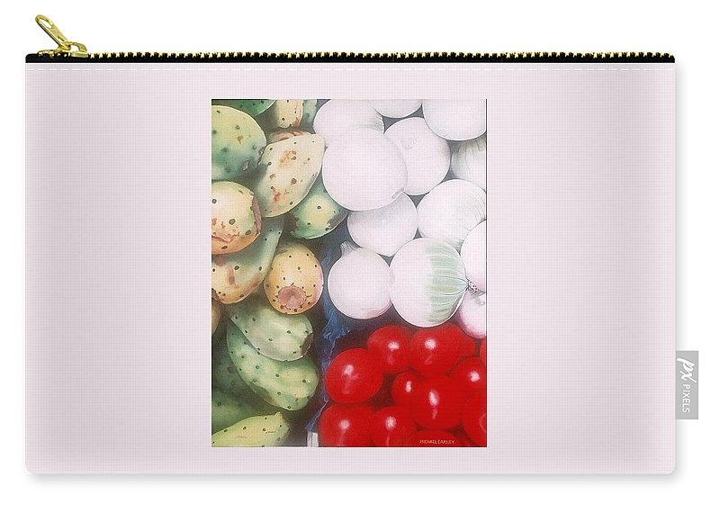 Hyperrealism Carry-all Pouch featuring the painting Cebollas Tunas Y Tomates by Michael Earney