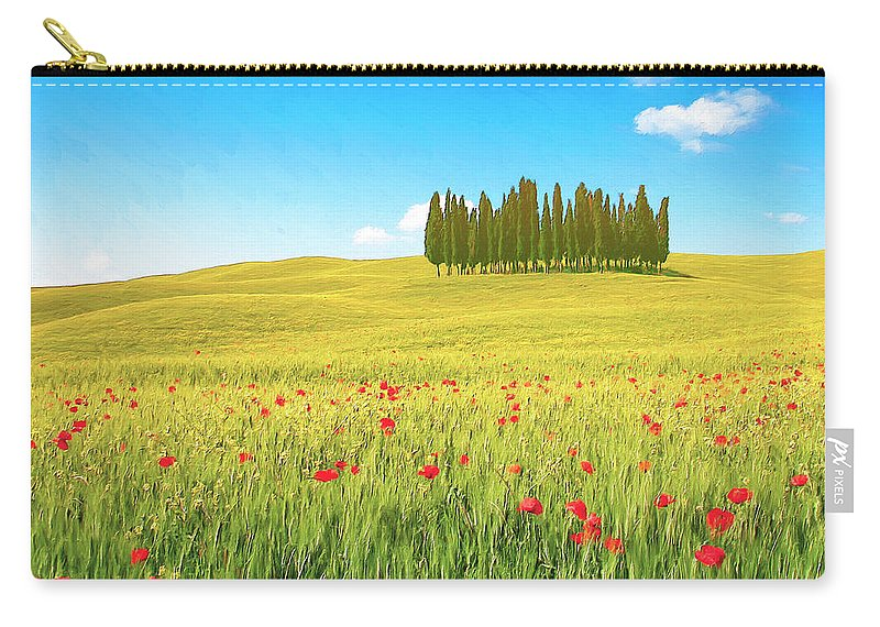 Cedar Grove Carry-all Pouch featuring the painting Cedar Grove And Poppies by Dominic Piperata
