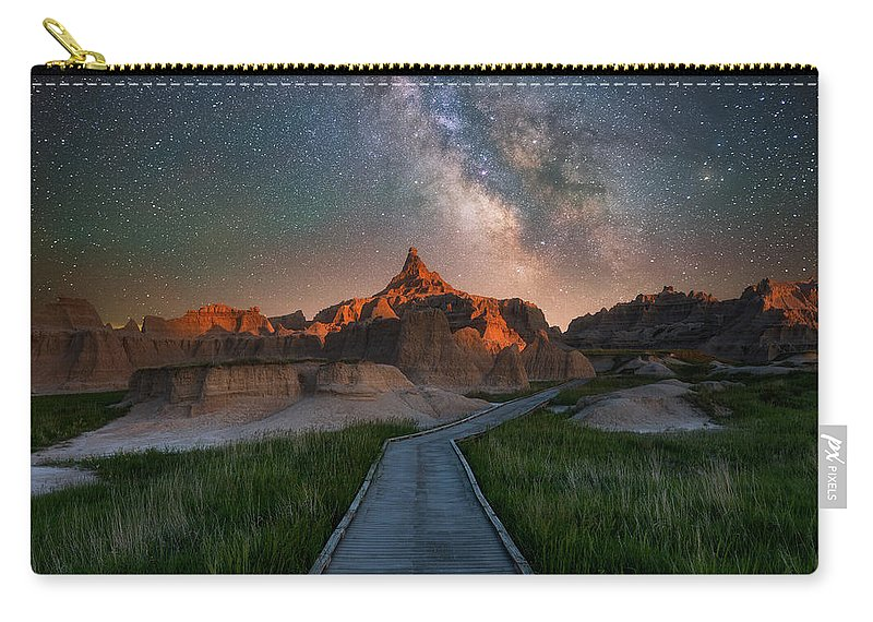 Badlands Carry-all Pouch featuring the photograph Cedar Pass Night Walk by Darren White