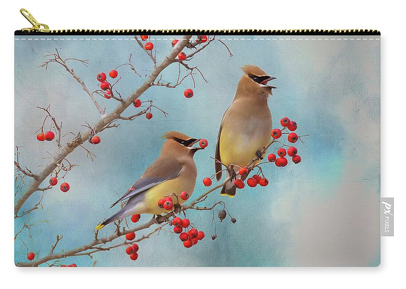 Bird Carry-all Pouch featuring the photograph Cedar Waxwing Pair by Amy Jackson
