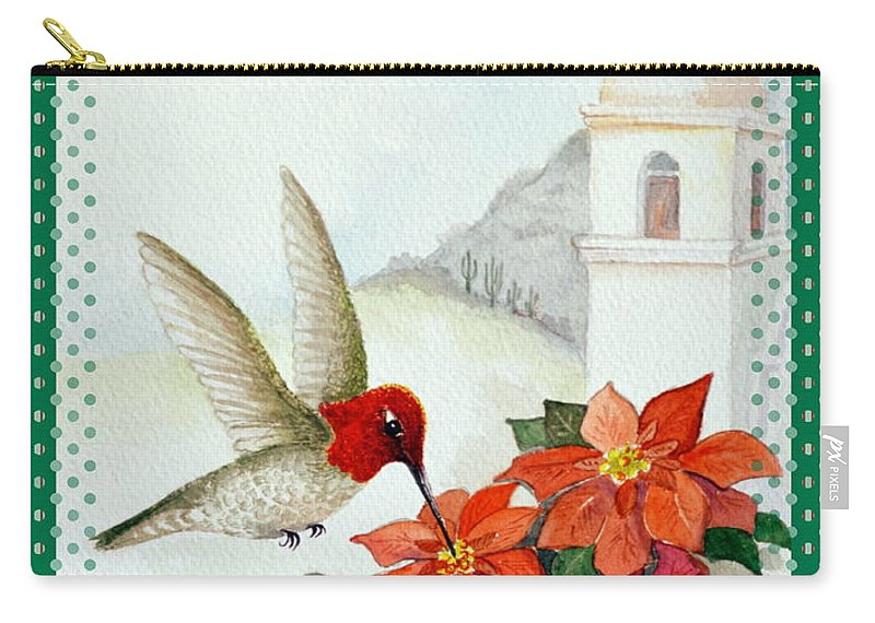 Christmas Card Carry-all Pouch featuring the painting Celebrate The Season 3 by Marilyn Smith