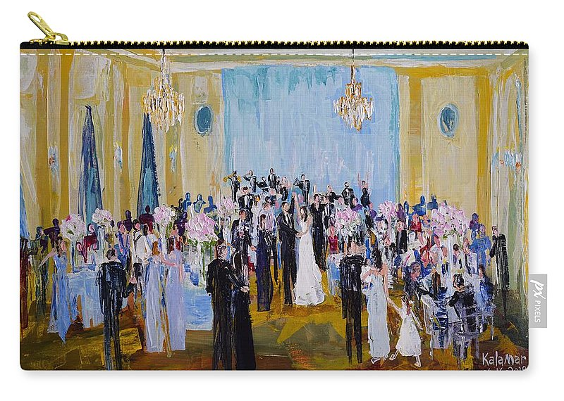 Wedding Carry-all Pouch featuring the painting Celebrating With Julie And Jonathan 06/16/2018 by Greg Kalamar