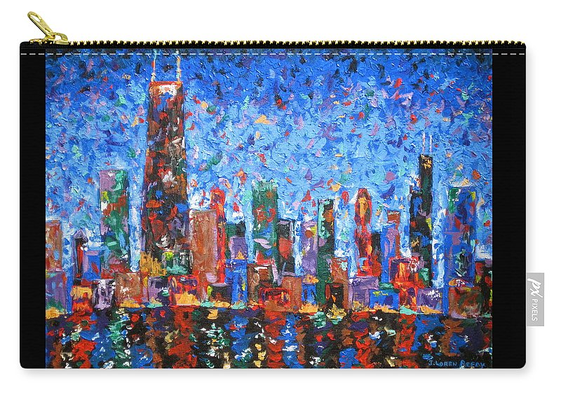 City Skyline Carry-all Pouch featuring the painting Celebration City by J Loren Reedy